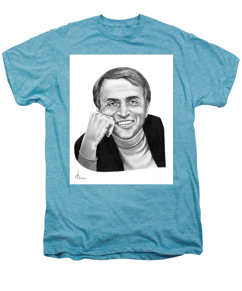 Pencil Men's Premium T-Shirt featuring the drawing Carl Sagan by Murphy Elliott