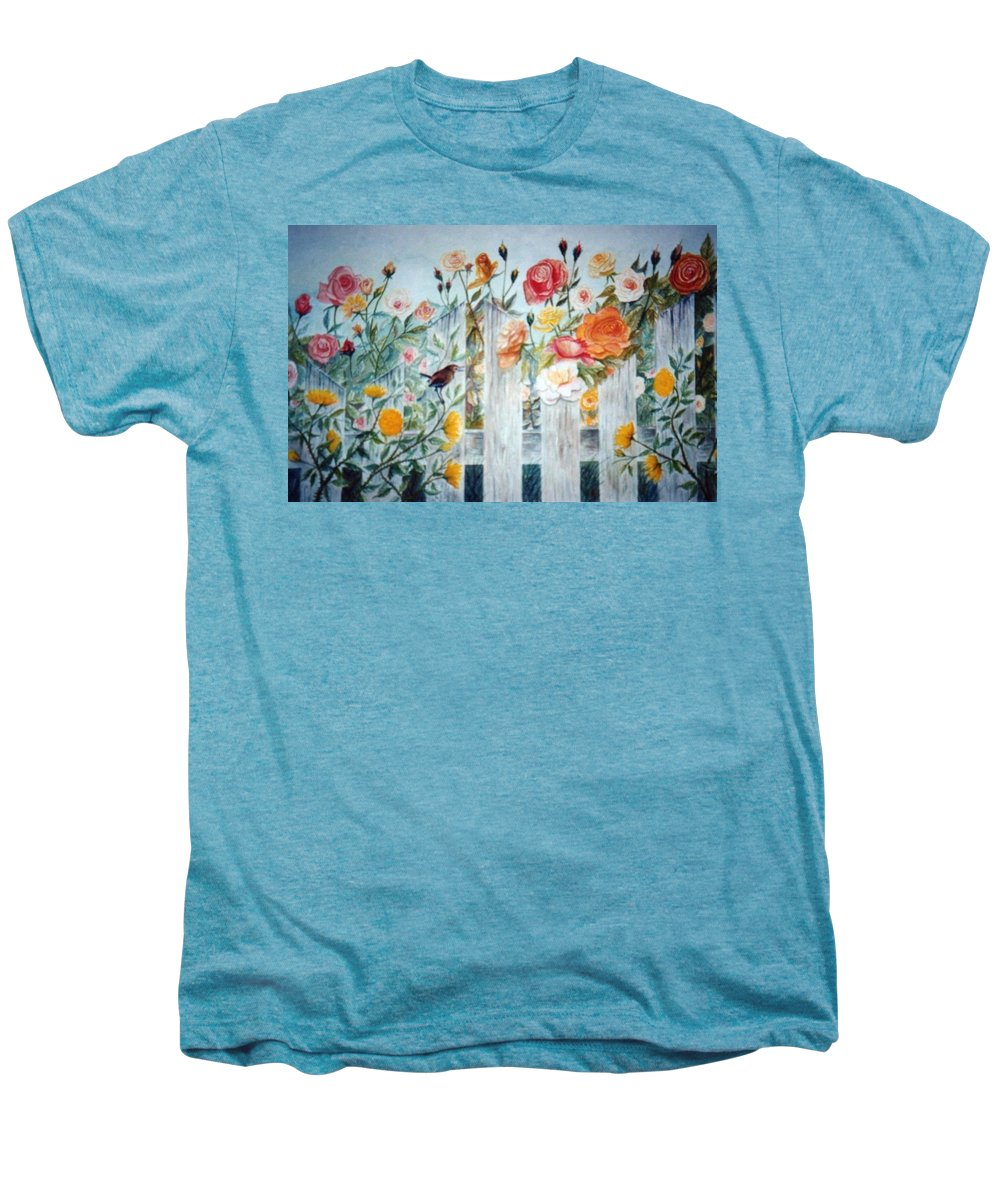 Roses; Flowers; Sc Wren Men's Premium T-Shirt featuring the painting Carolina Wren And Roses by Ben Kiger