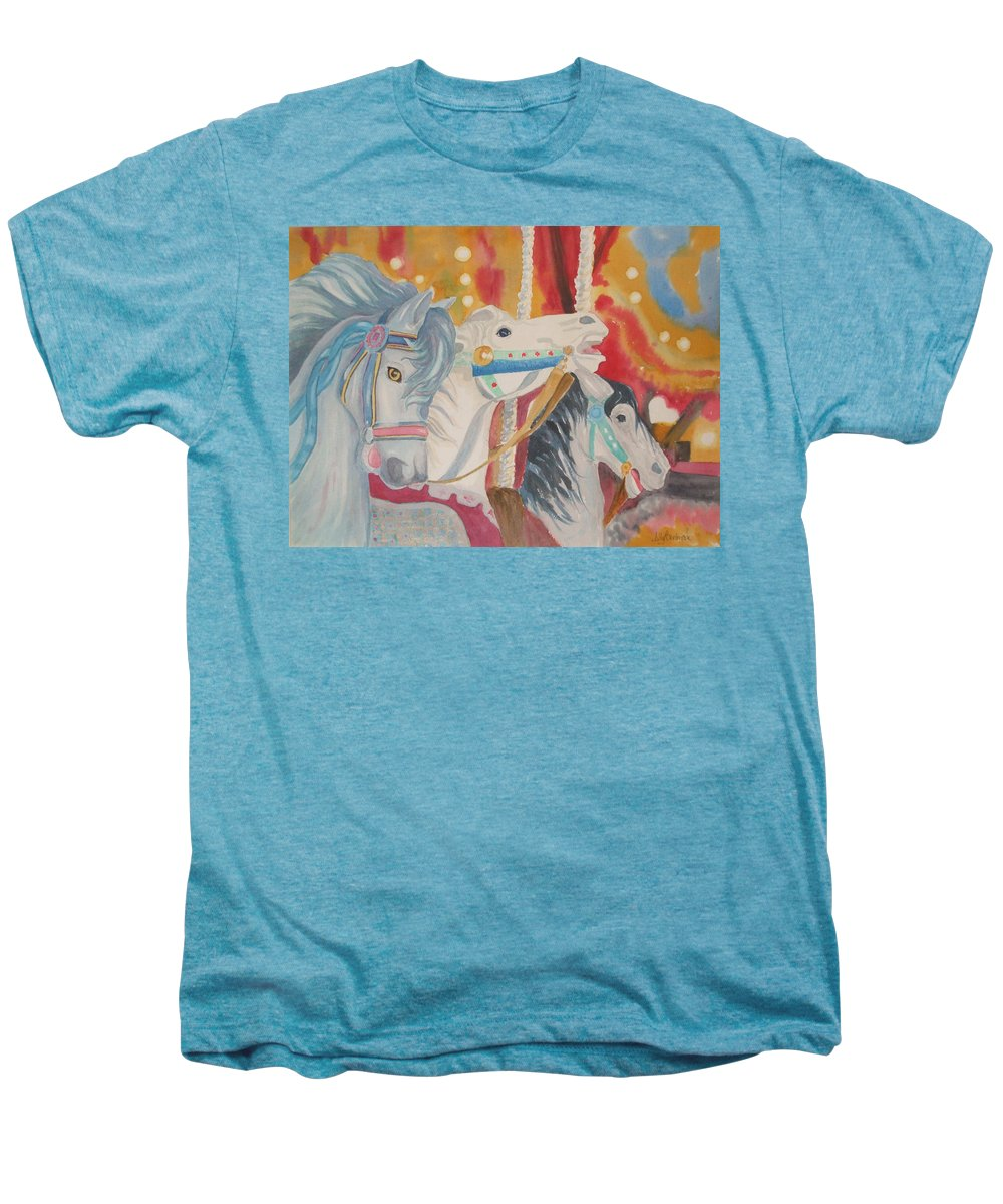 Carousel Men's Premium T-Shirt featuring the painting Carousel 1 by Ally Benbrook