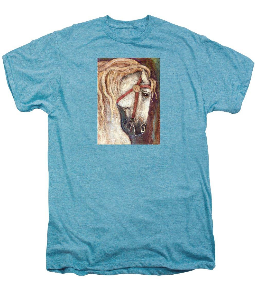 Horse Painting Men's Premium T-Shirt featuring the painting Carousel Horse Painting by Frances Gillotti