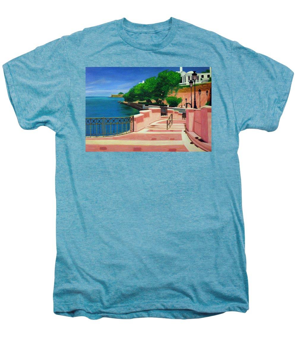 Landscape Men's Premium T-Shirt featuring the painting Casa Blanca - Puerto Rico by Tito Santiago