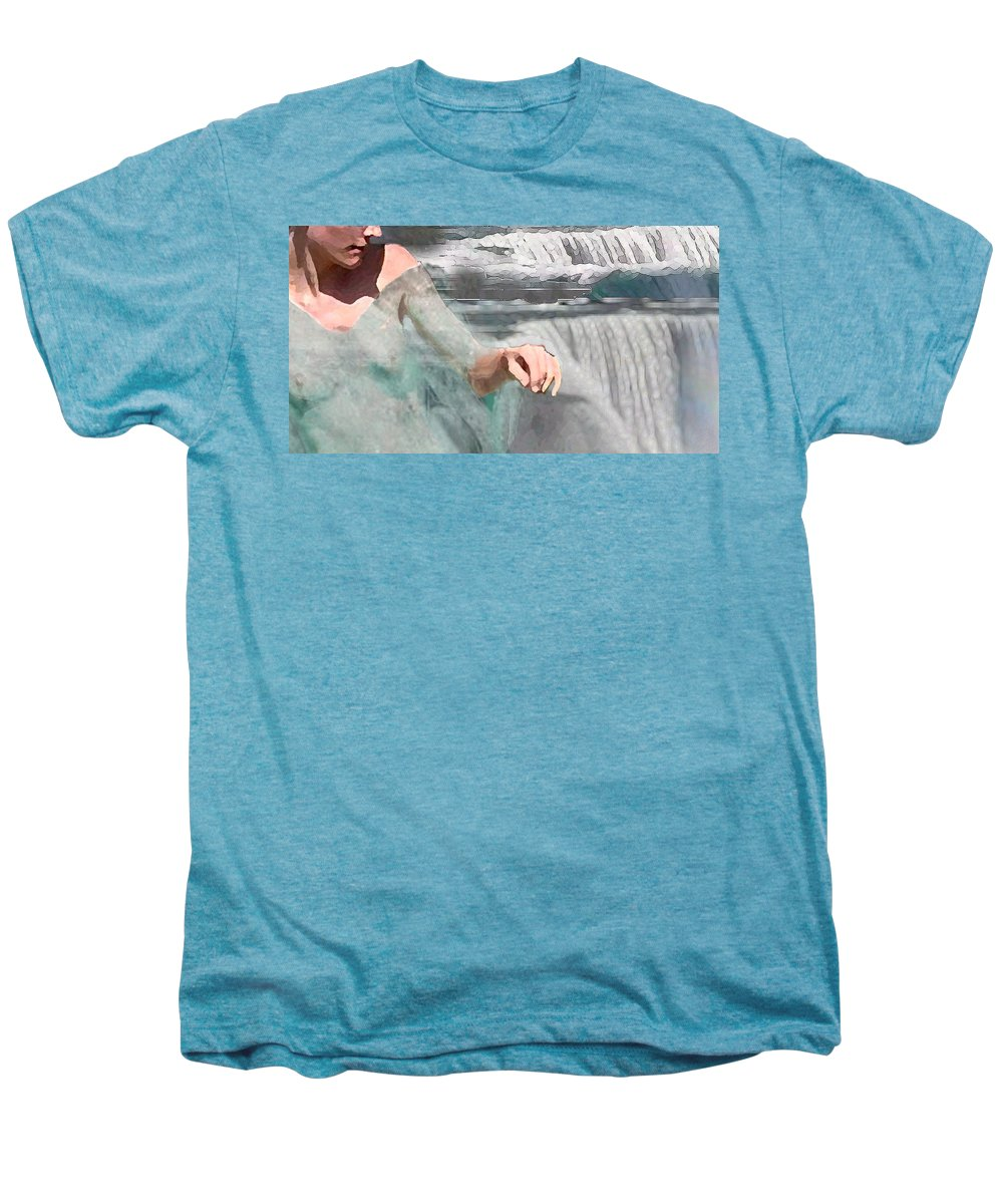 Waterscape Men's Premium T-Shirt featuring the digital art Cascade by Steve Karol
