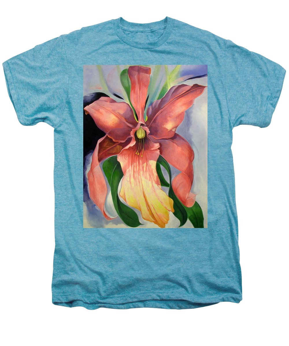 Catalya Men's Premium T-Shirt featuring the painting Catalya Orchid by Jerrold Carton