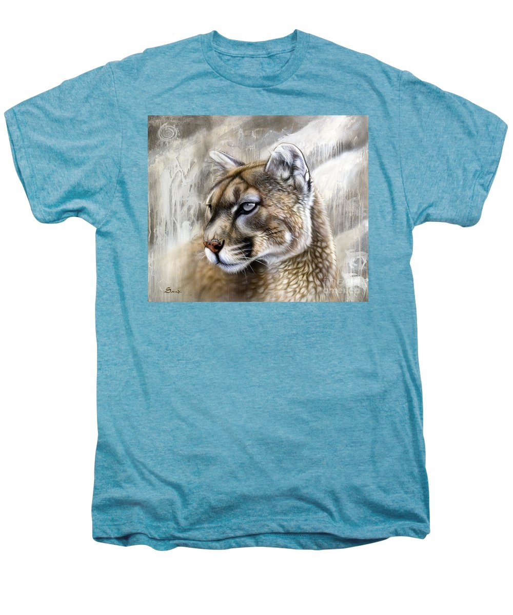 Acrylic Men's Premium T-Shirt featuring the painting Catamount by Sandi Baker