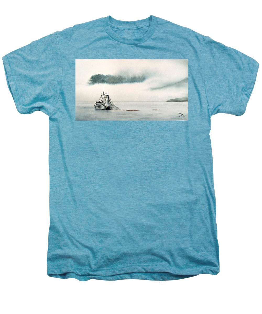 Fishing Boat Men's Premium T-Shirt featuring the painting Catch Of The Day by Gale Cochran-Smith