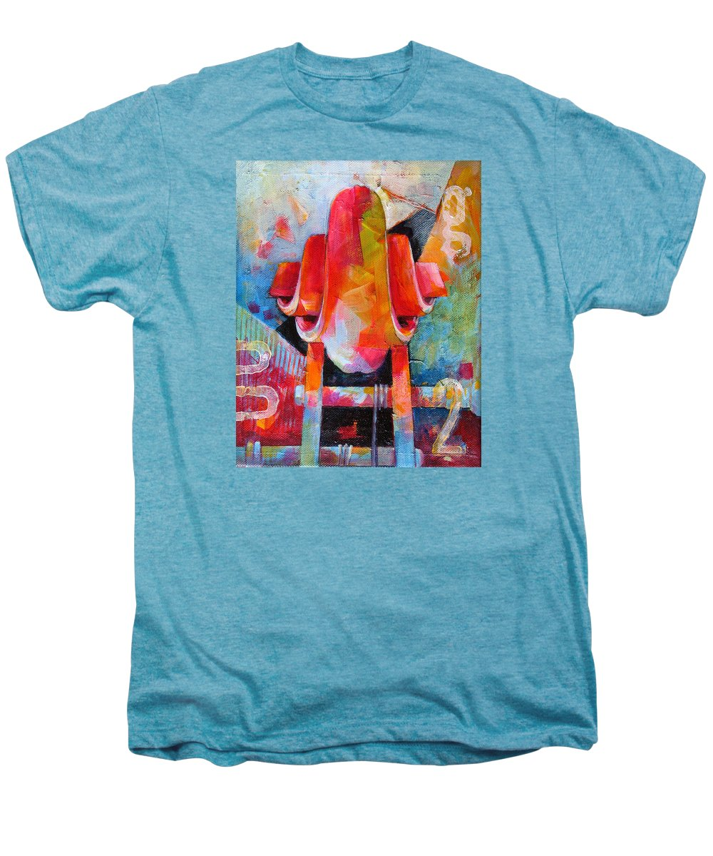 Musical Artwork Men's Premium T-Shirt featuring the painting Cello Head In Blue And Red by Susanne Clark