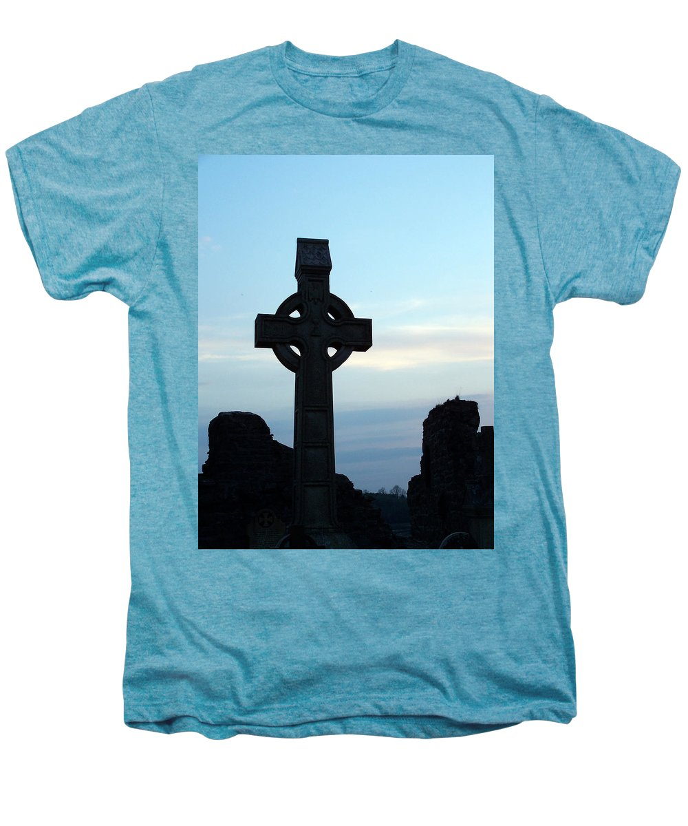 Irish Men's Premium T-Shirt featuring the photograph Celtic Cross At Sunset Donegal Ireland by Teresa Mucha