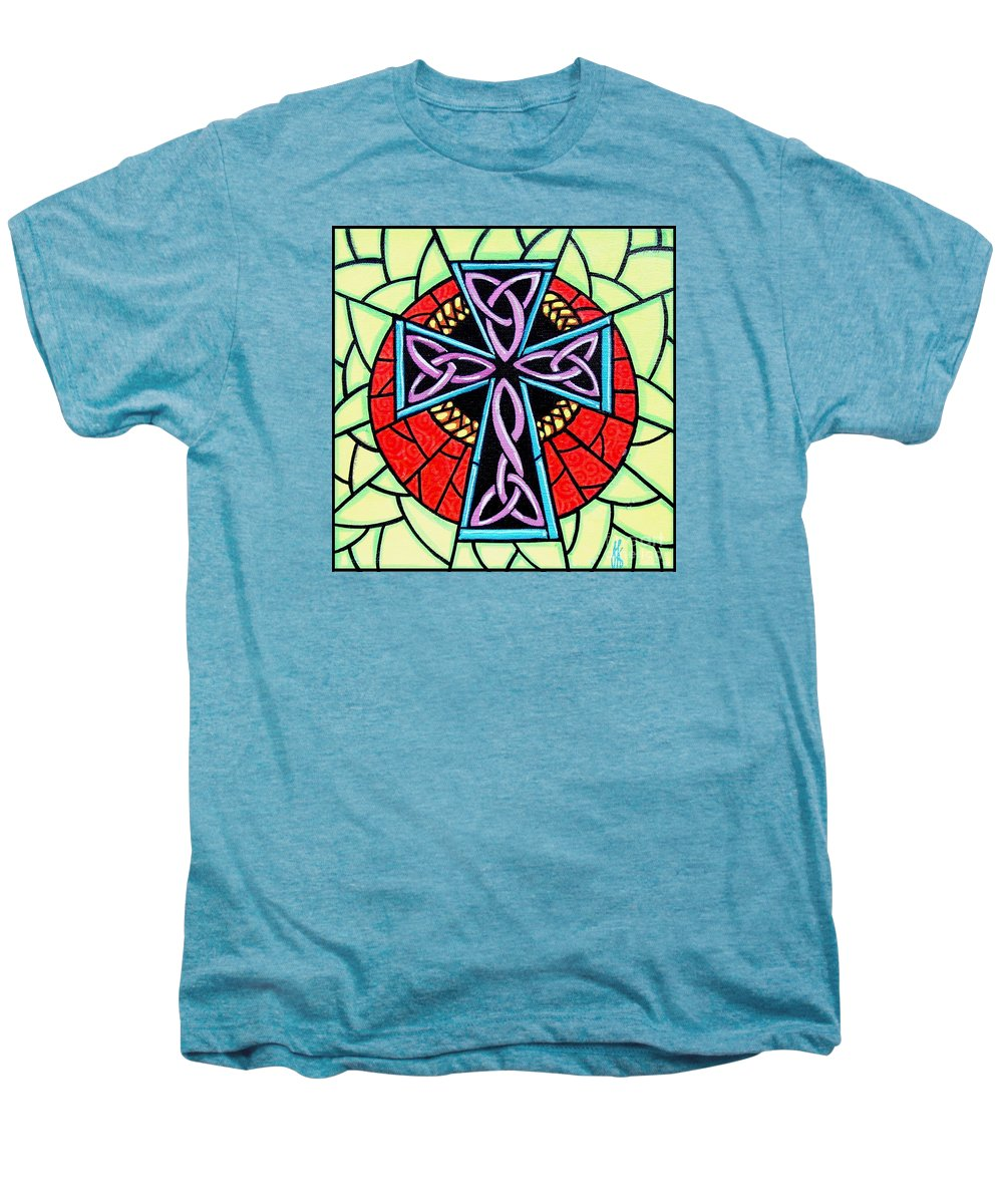 Celtic Men's Premium T-Shirt featuring the painting Celtic Cross by Jim Harris