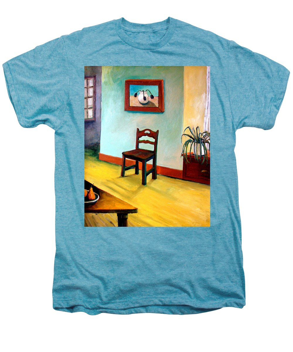 Apartment Men's Premium T-Shirt featuring the painting Chair And Pears Interior by Michelle Calkins
