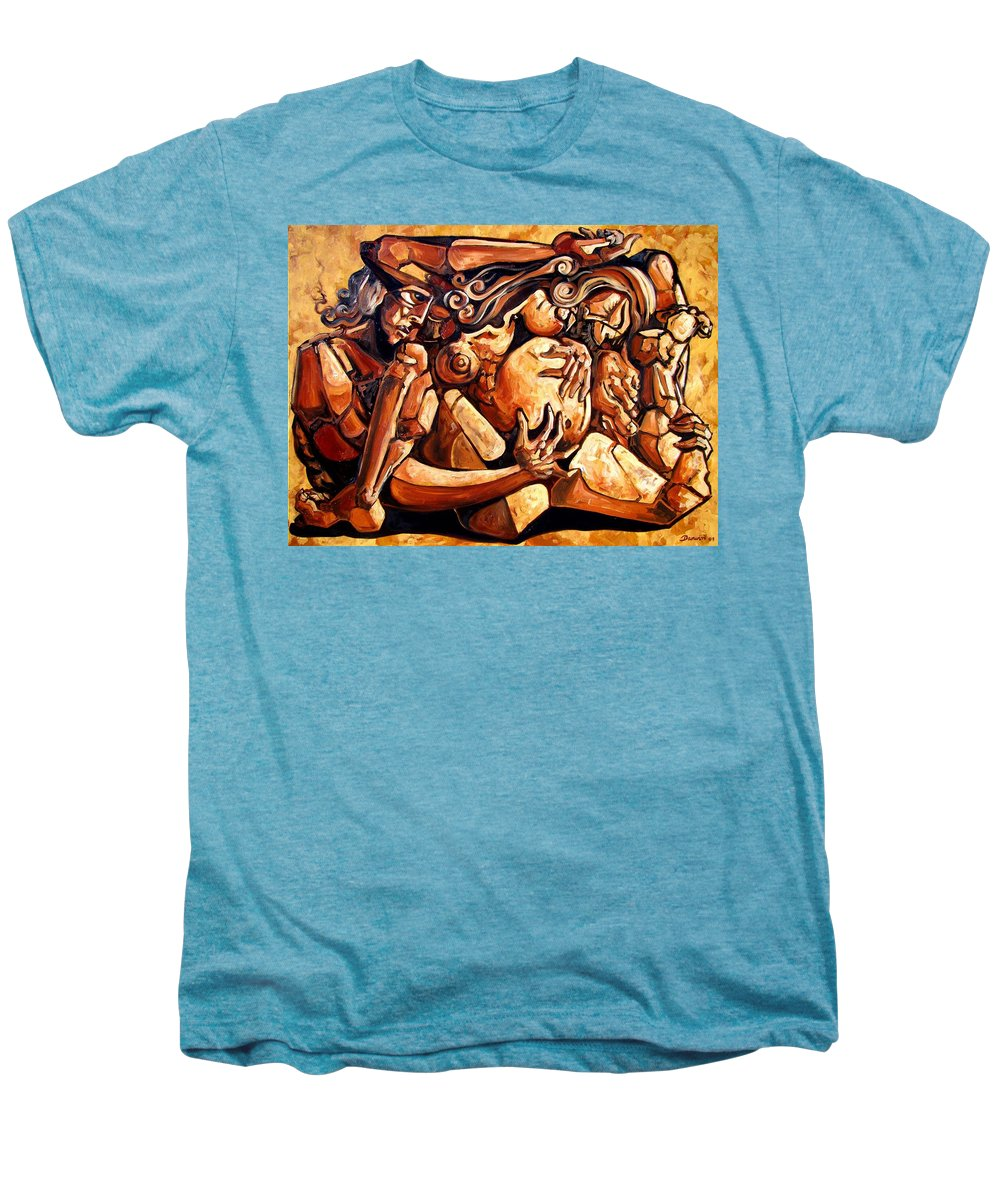 Surrealism Men's Premium T-Shirt featuring the painting Chaos After The News by Darwin Leon