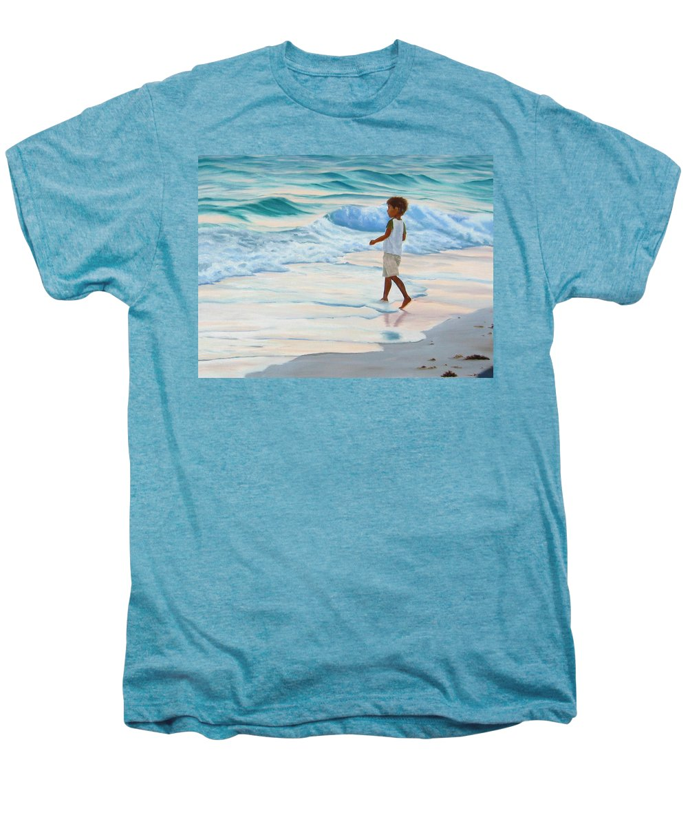 Child Men's Premium T-Shirt featuring the painting Chasing The Waves by Lea Novak