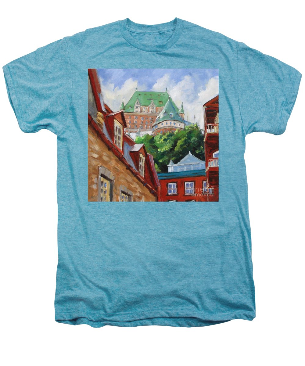 Chateau Frontenac Men's Premium T-Shirt featuring the painting Chateau Frontenac by Richard T Pranke