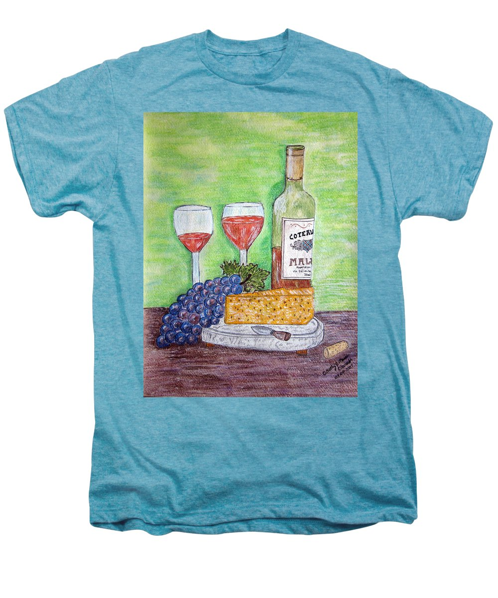 Cheese Men's Premium T-Shirt featuring the painting Cheese Wine And Grapes by Kathy Marrs Chandler