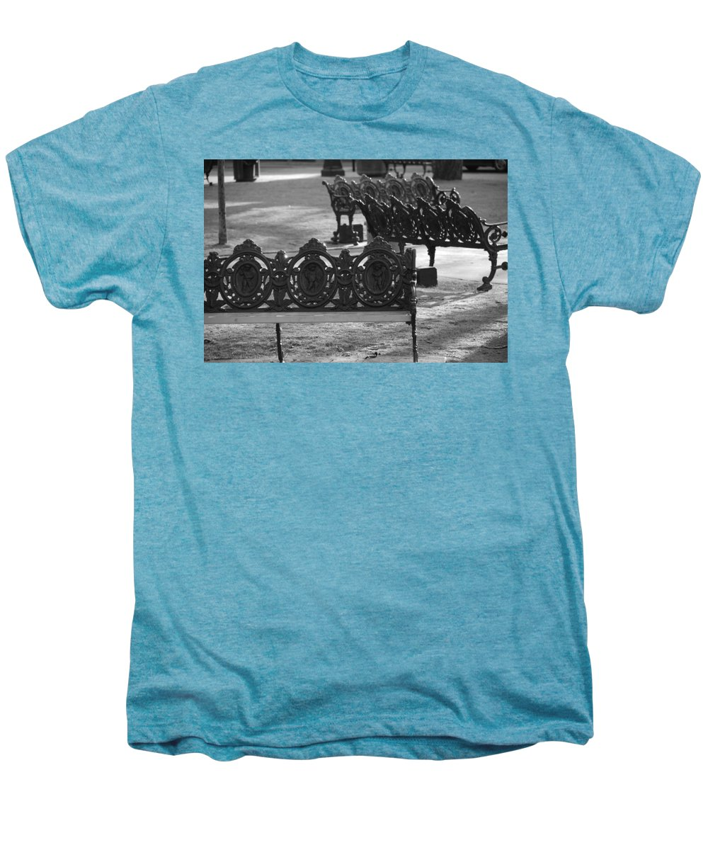 Black And White Men's Premium T-Shirt featuring the photograph Cherb Benches by Rob Hans