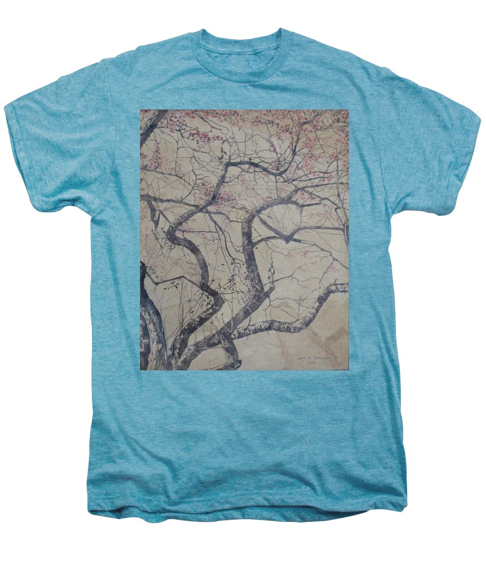Crab Apple Men's Premium T-Shirt featuring the painting Prairie Fire by Leah Tomaino