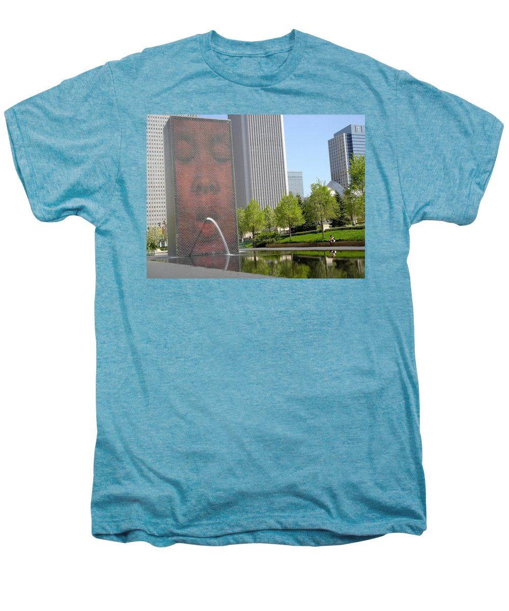 Chicago Men's Premium T-Shirt featuring the photograph Chicago Crown Fountain 8 by Jean Macaluso