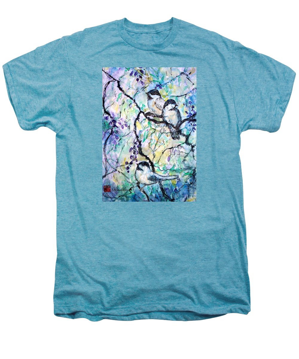 Birds Men's Premium T-Shirt featuring the painting Chickadees by Norma Boeckler