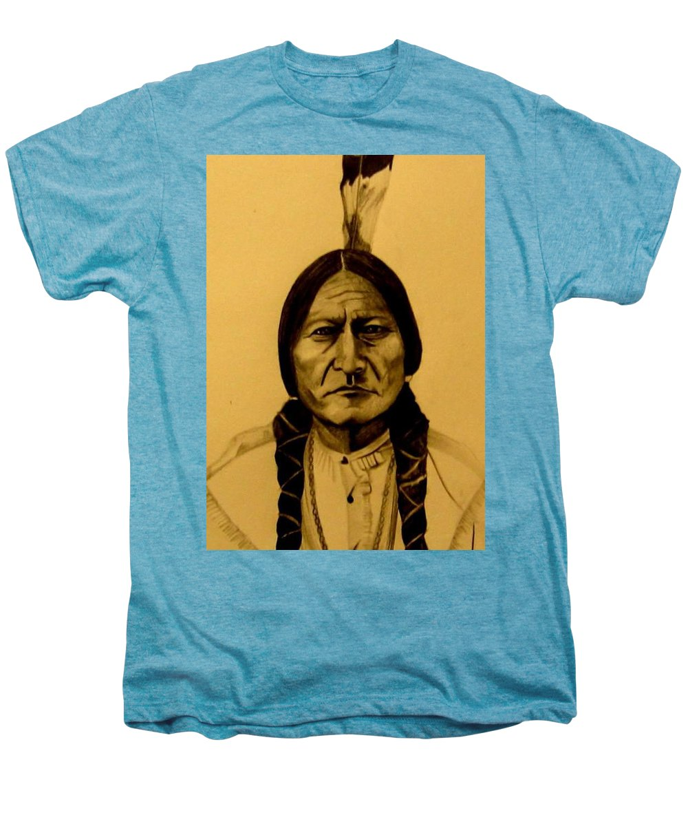 Portrait Men's Premium T-Shirt featuring the drawing Chief Sitting Bull Tatanka Iyotake by Michelle Dallocchio