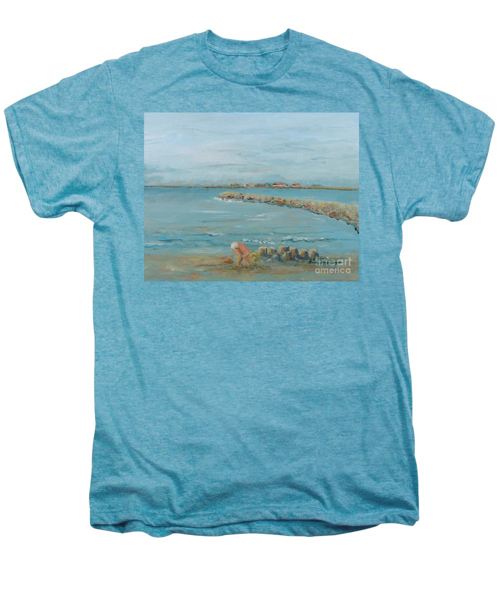 Beach Men's Premium T-Shirt featuring the painting Child Playing At Provence Beach by Nadine Rippelmeyer