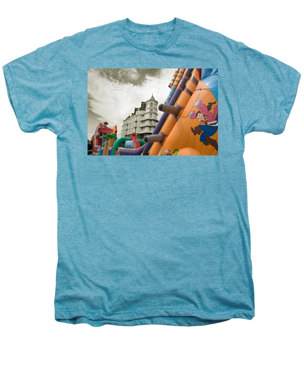 Childrens Men's Premium T-Shirt featuring the photograph Childrens Play Areas Contrast With The Victorian Elegance Of The Grand Hotel In Llandudno Wales Uk by Mal Bray