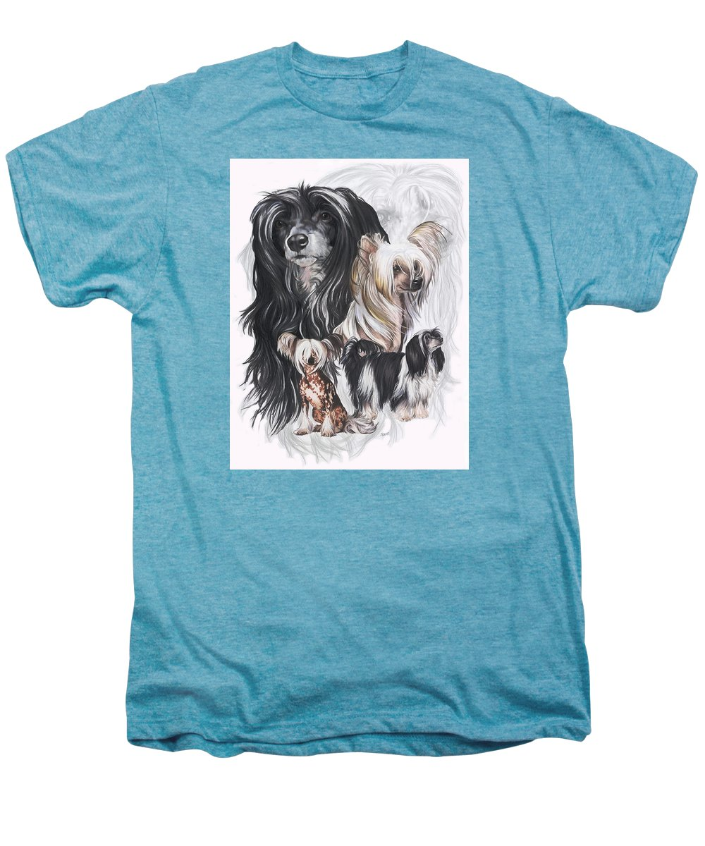 Art Men's Premium T-Shirt featuring the mixed media Chinese Crested And Powderpuff W/ghost by Barbara Keith