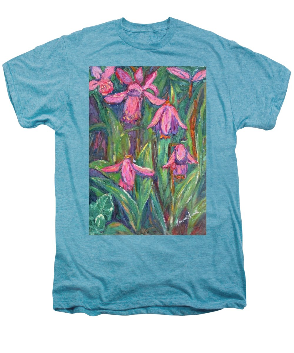 Floral Men's Premium T-Shirt featuring the painting Chinese Orchids by Kendall Kessler