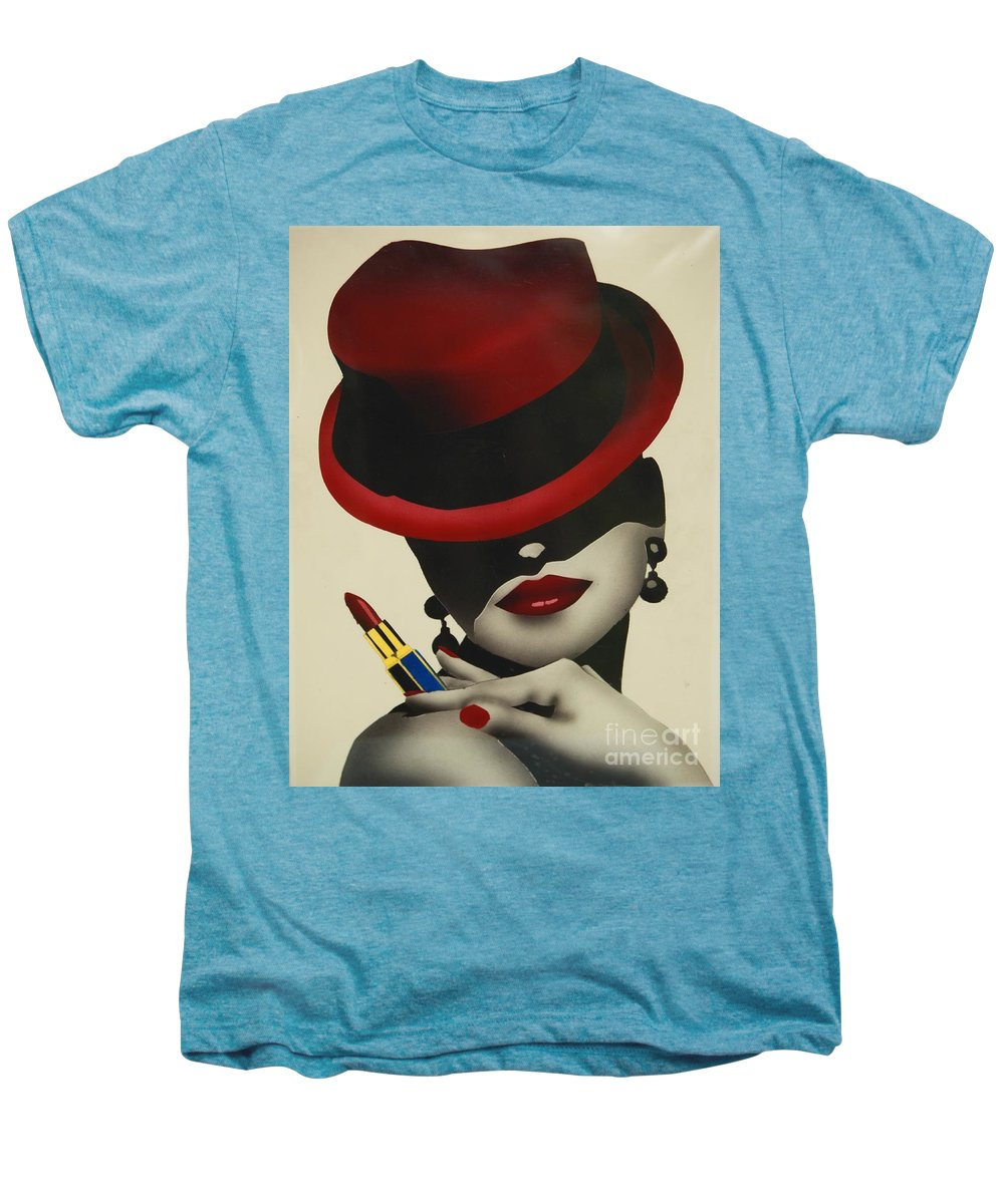 Christion Dior Red Hat Lady Men's Premium T-Shirt featuring the painting Christion Dior Red Hat Lady by Jacqueline Athmann