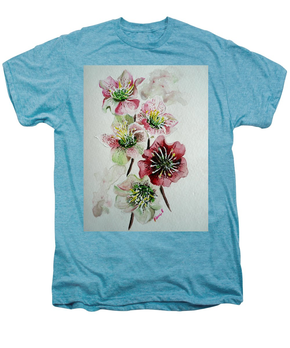 Floral Flower Pink Men's Premium T-Shirt featuring the painting Christmas Rose by Karin Dawn Kelshall- Best