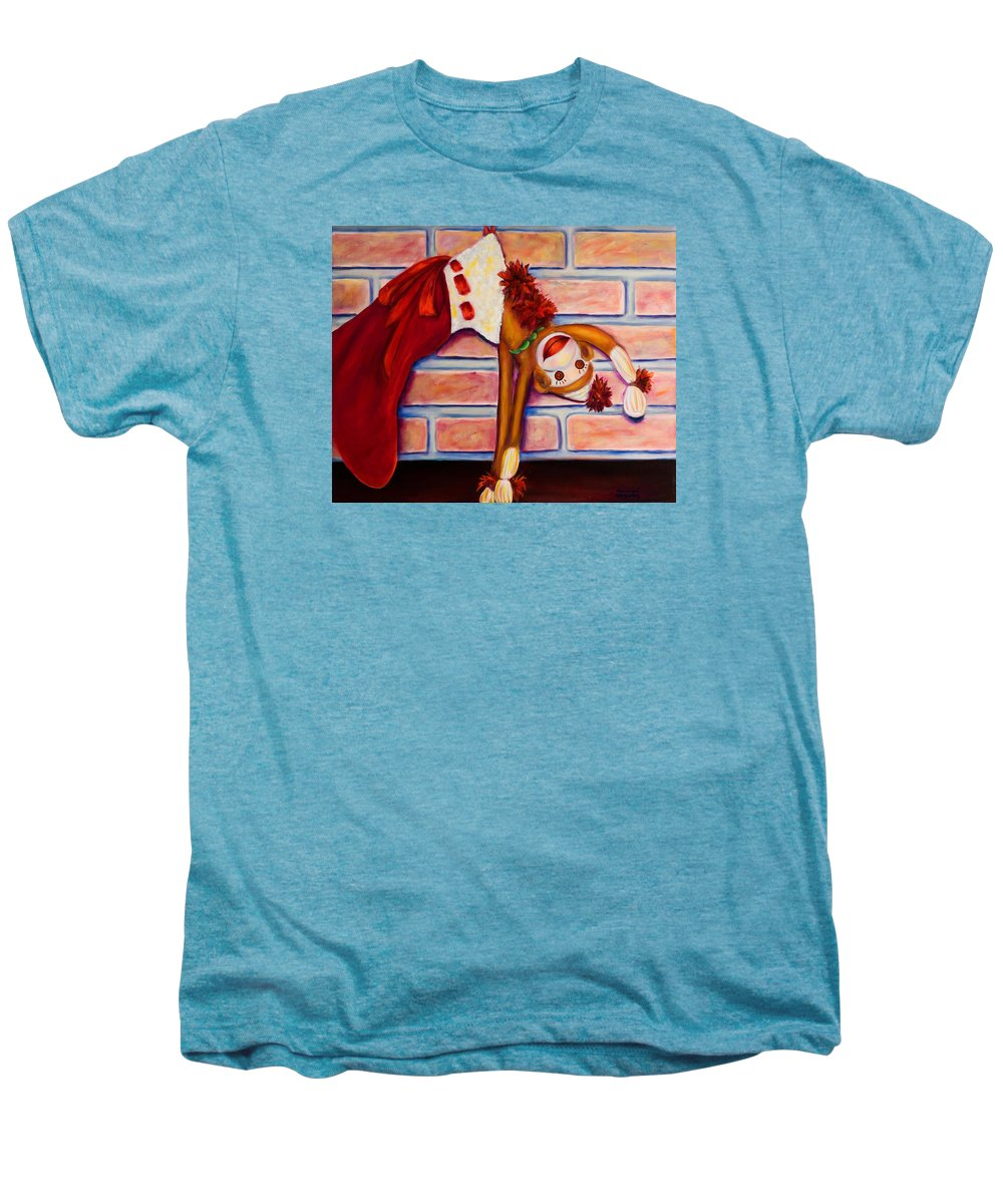 Sock Monkey Men's Premium T-Shirt featuring the painting Christmas With Care by Shannon Grissom