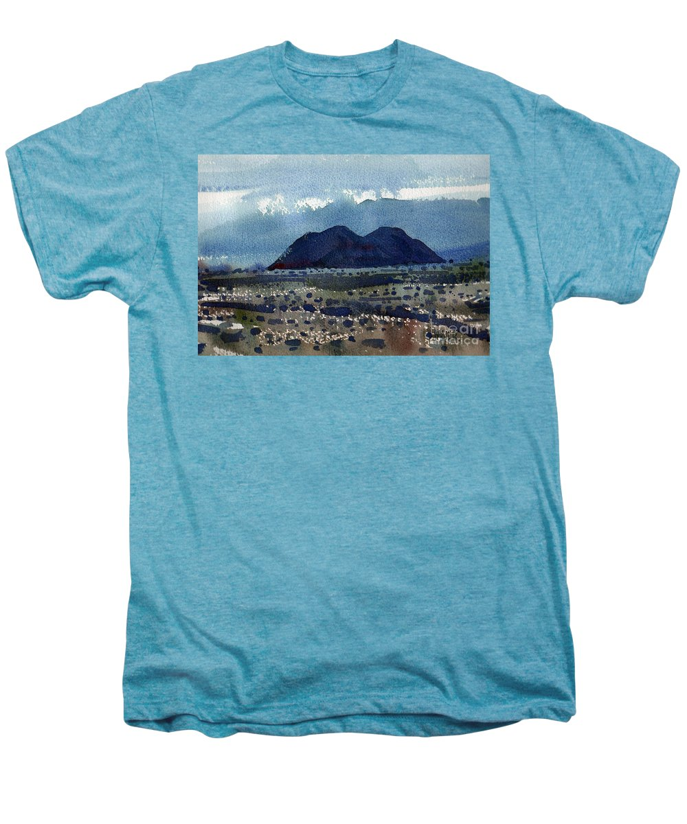 Cinder Cone Men's Premium T-Shirt featuring the painting Cinder Cone Death Valley by Donald Maier