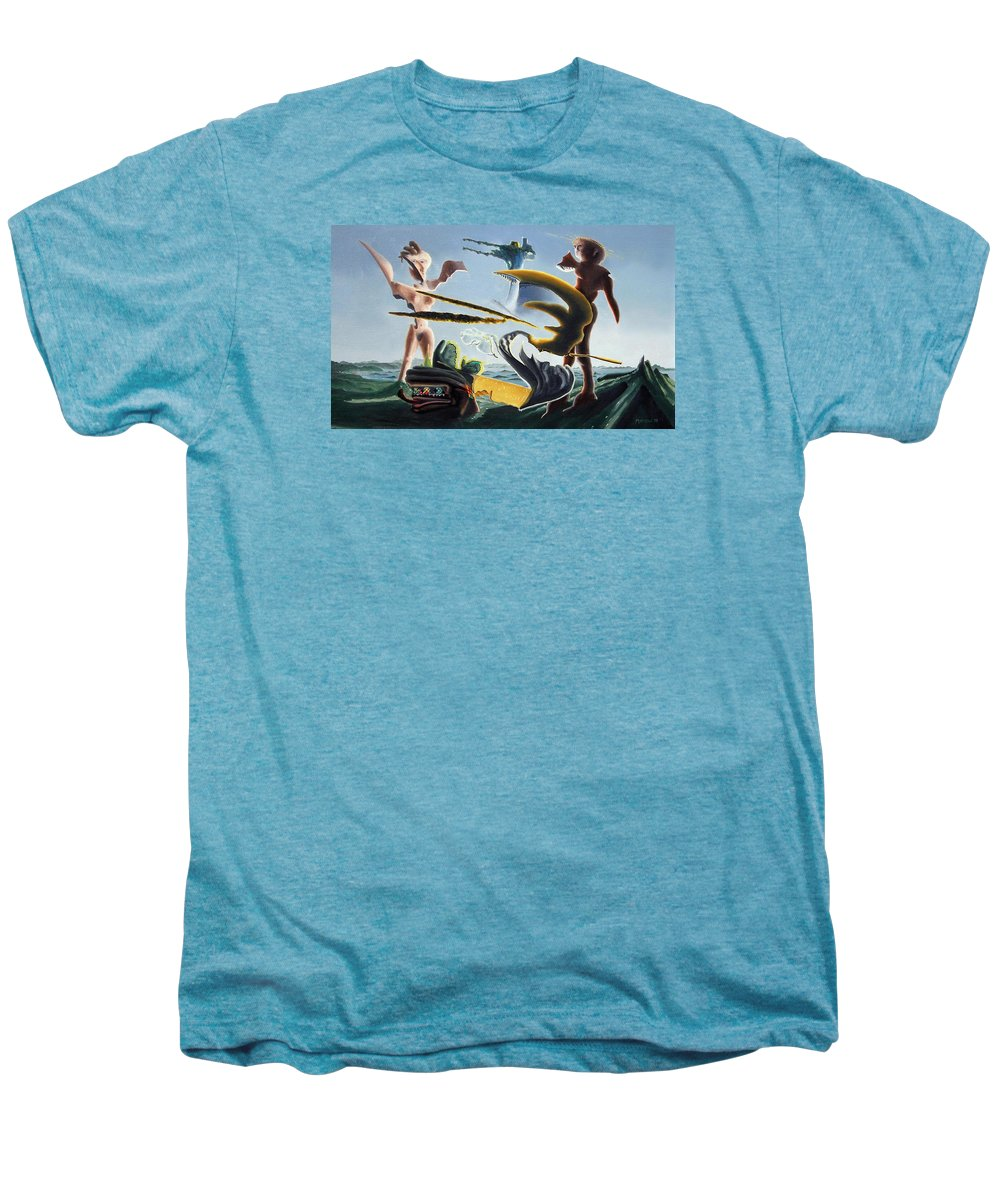 Landscape Men's Premium T-Shirt featuring the painting Civilization Found Intact by Dave Martsolf