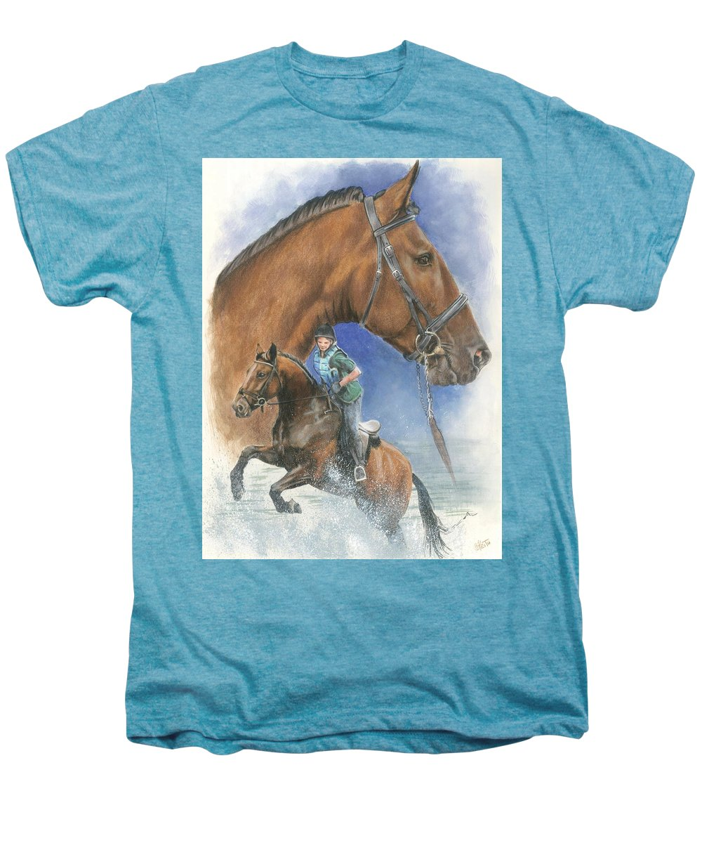 Hunter Jumper Men's Premium T-Shirt featuring the mixed media Cleveland Bay by Barbara Keith