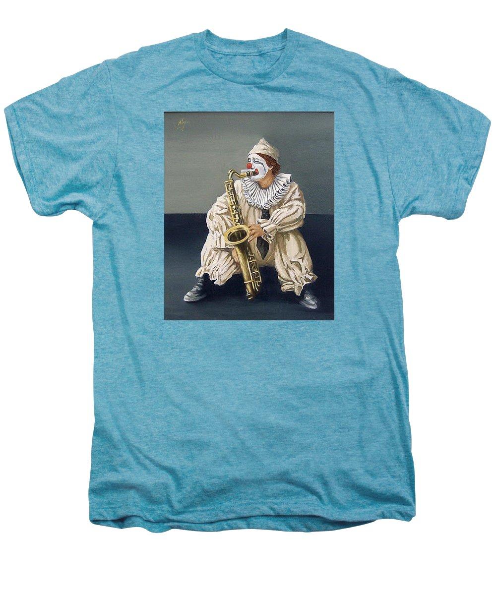 Clown Figurative Portrait People Men's Premium T-Shirt featuring the painting Clown by Natalia Tejera