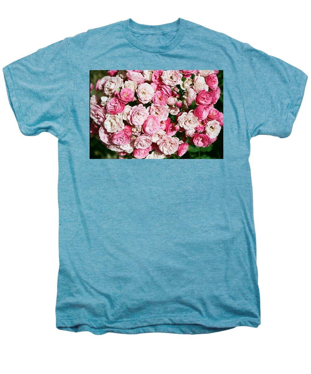 Rose Men's Premium T-Shirt featuring the photograph Cluster Of Roses by Dean Triolo