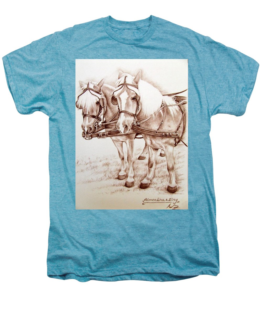 Horses Men's Premium T-Shirt featuring the drawing Coach Horses by Nicole Zeug