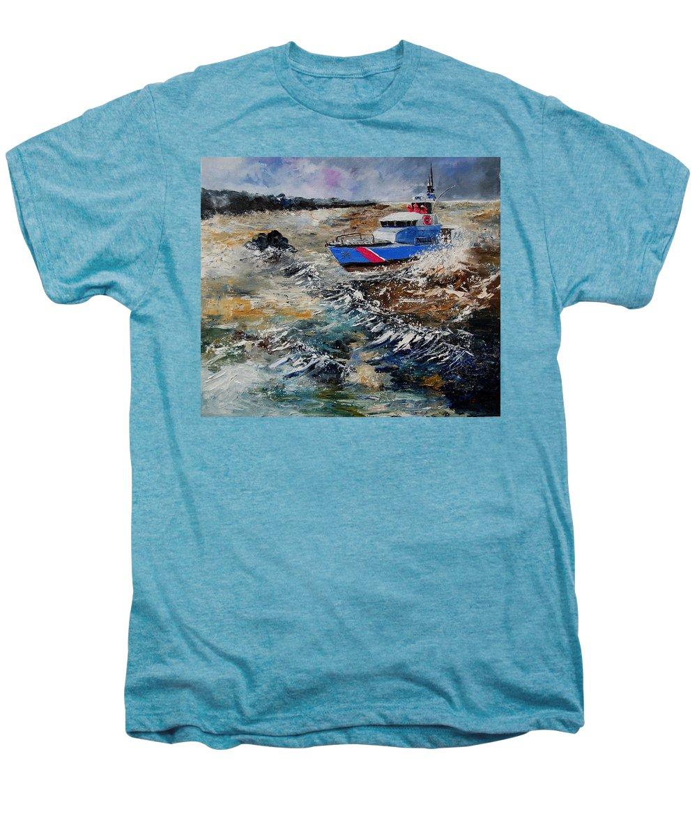 Sea Men's Premium T-Shirt featuring the painting Coastguards by Pol Ledent