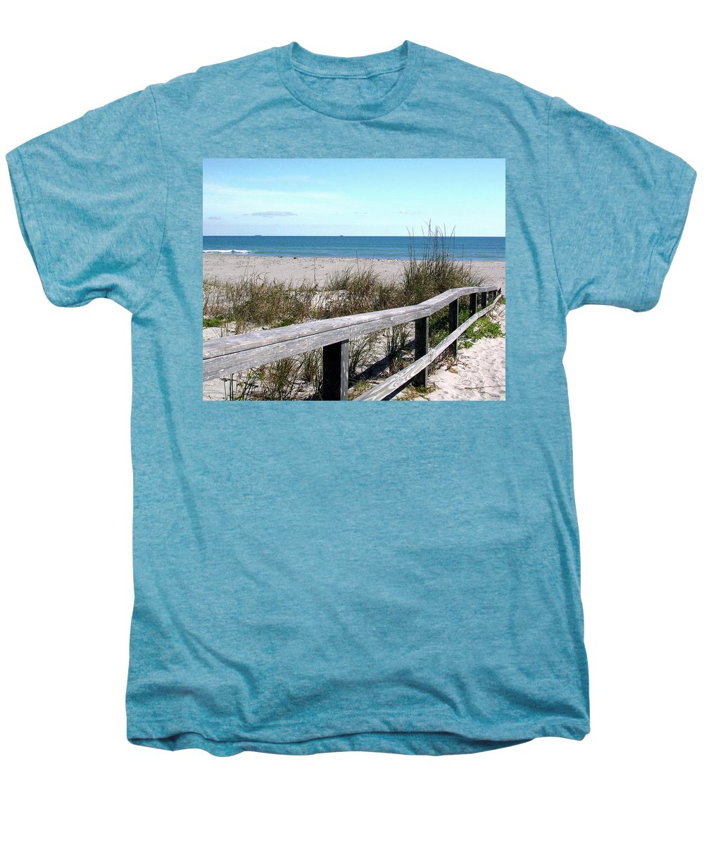 Beach; Florida; Cocoa; Railing; Ocean; Atlantic; Sea; Cocoa Beach; Brevard; Sand; Wood; Ships; Space Men's Premium T-Shirt featuring the photograph Cocoa Beach In Florida by Allan Hughes