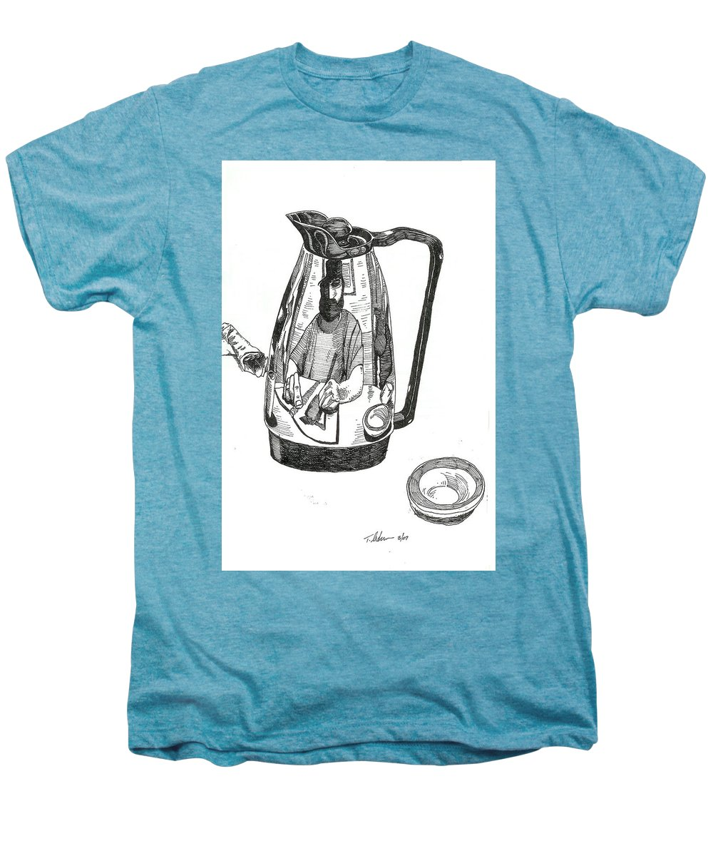 Pen And Ink Men's Premium T-Shirt featuring the drawing Coffee Pot by Tobey Anderson