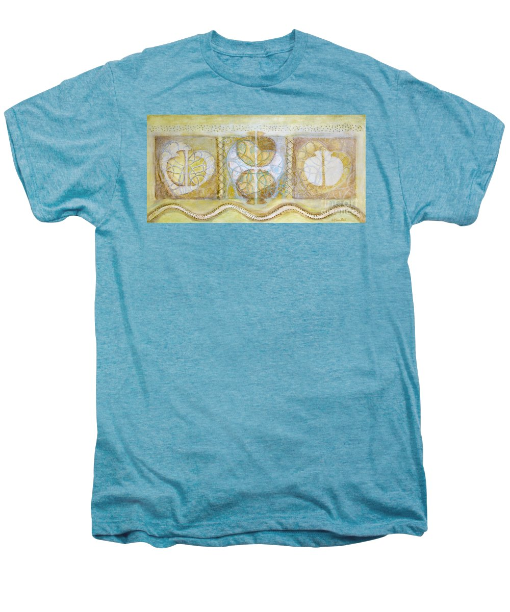 Symbolism Men's Premium T-Shirt featuring the painting Collective Unconscious Three Equals One Equals Enlightenment by Kerryn Madsen- Pietsch
