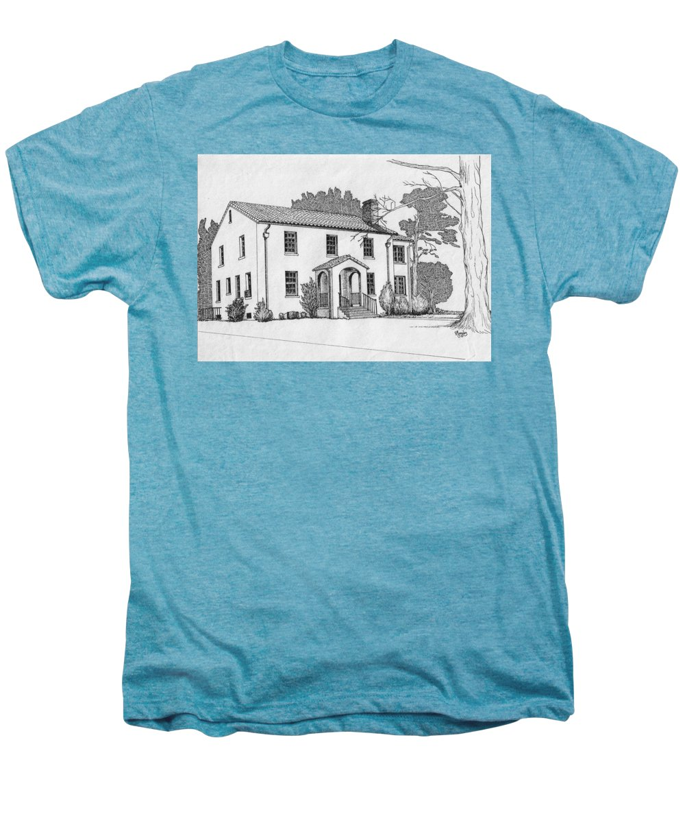 Drawing - Pen And Ink Men's Premium T-Shirt featuring the drawing Colonel Quarters 2 - Fort Benning Ga by Marco Morales