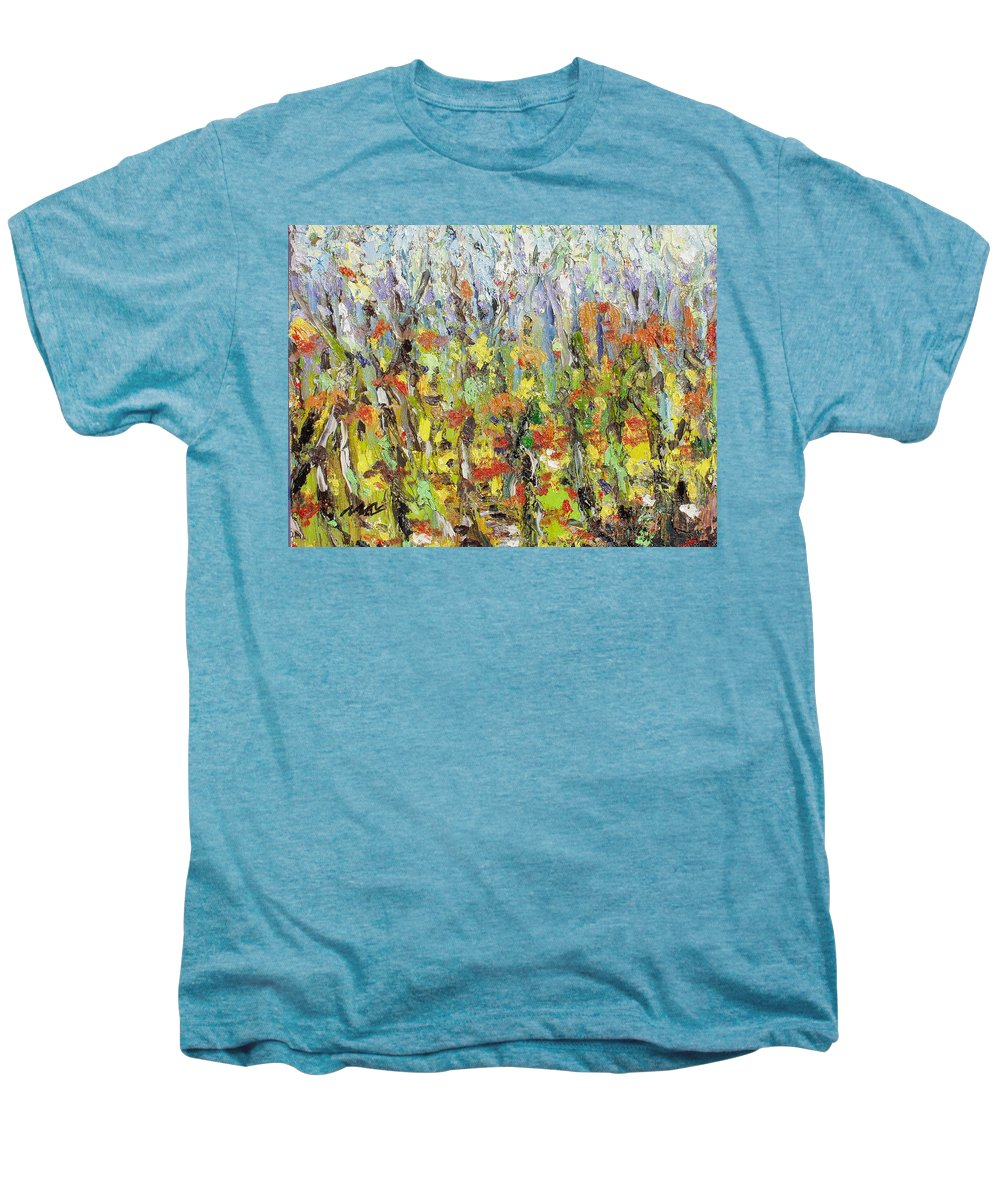 Autumn Abstract Paintings Men's Premium T-Shirt featuring the painting Colorful Forest by Seon-Jeong Kim