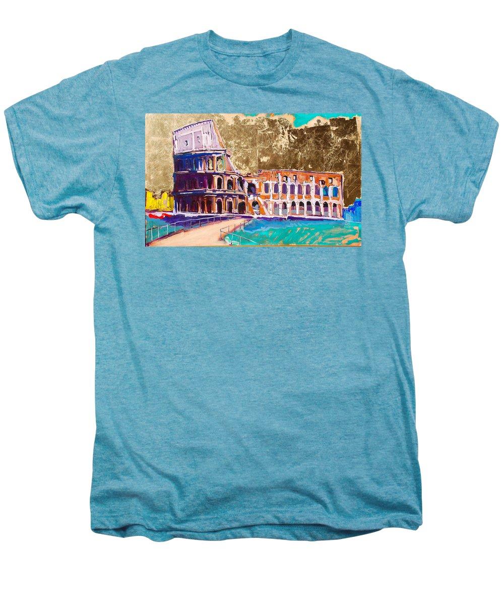 Rome Men's Premium T-Shirt featuring the painting Colosseum by Kurt Hausmann