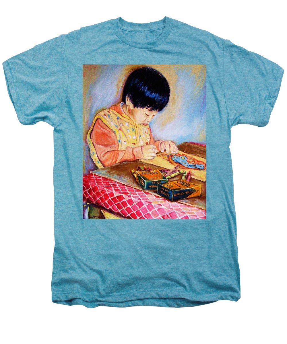 Beautiful Child Men's Premium T-Shirt featuring the painting Commission Portraits Your Child by Carole Spandau