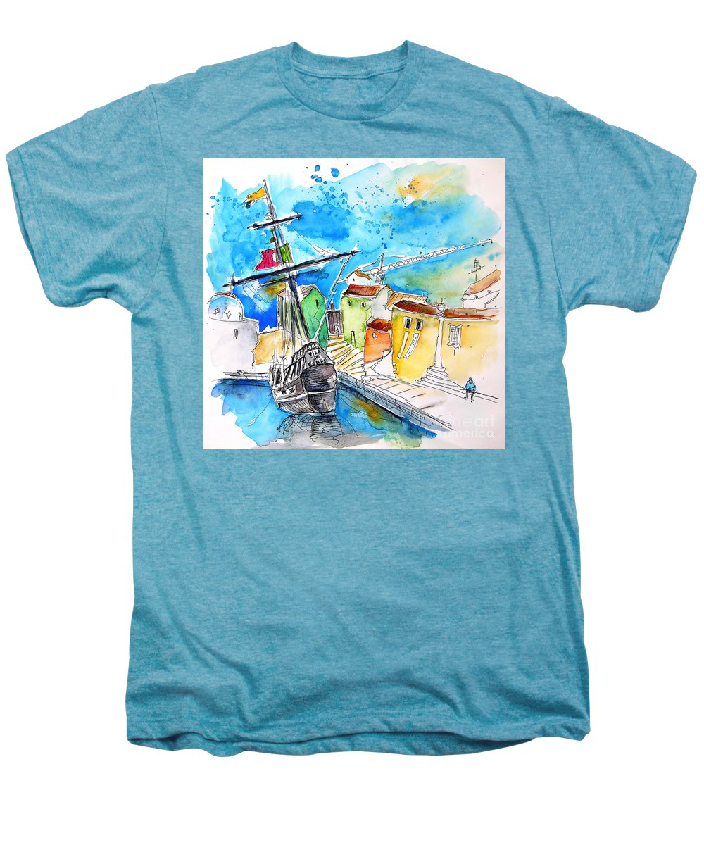 Portugal Men's Premium T-Shirt featuring the painting Conquistador Boat In Portugal by Miki De Goodaboom