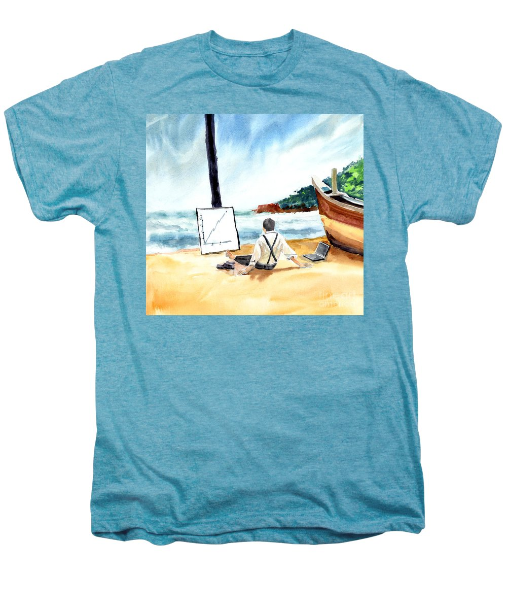 Landscape Men's Premium T-Shirt featuring the painting Contemplation by Anil Nene