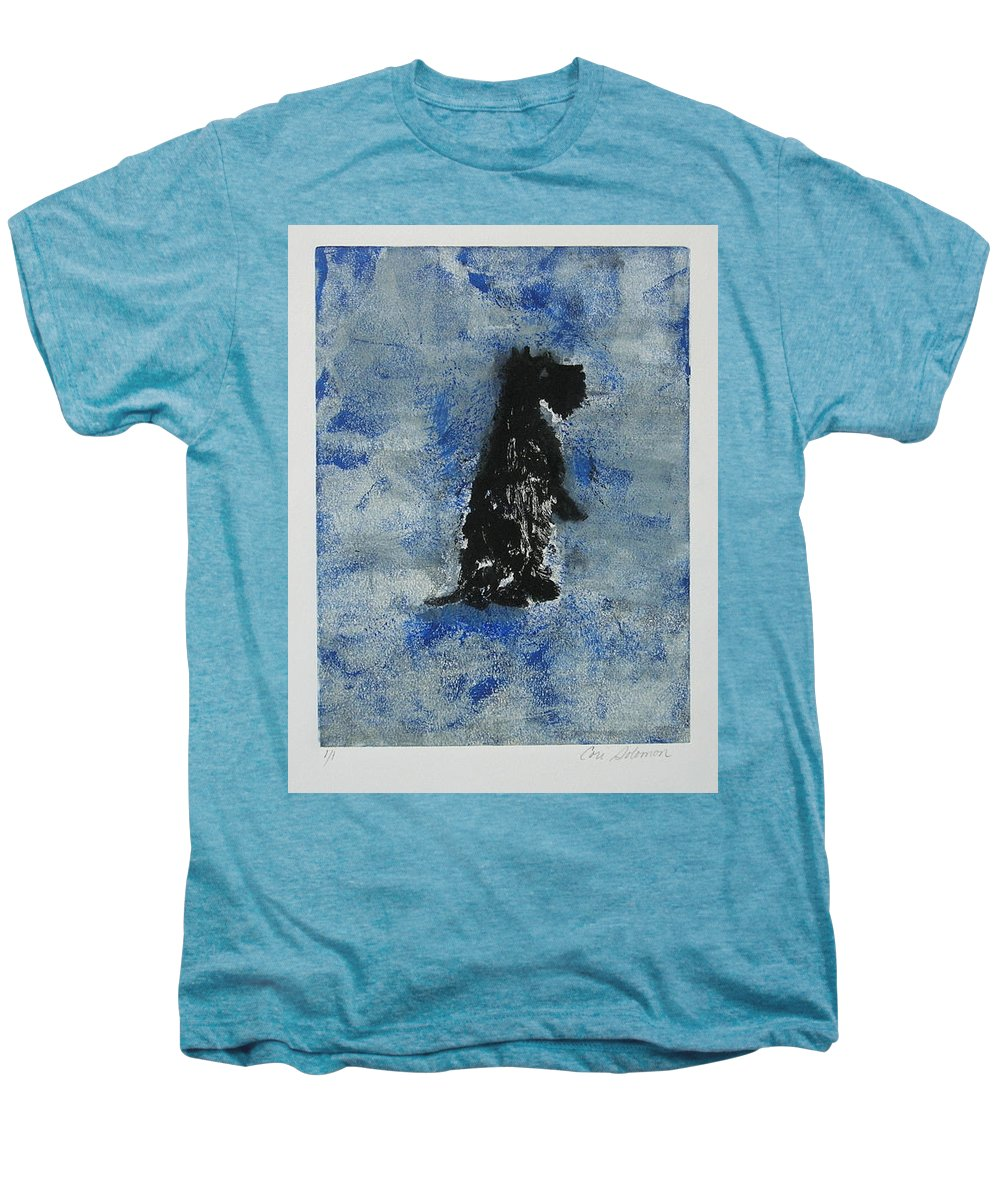 Monotype Men's Premium T-Shirt featuring the mixed media Cool Blue by Cori Solomon