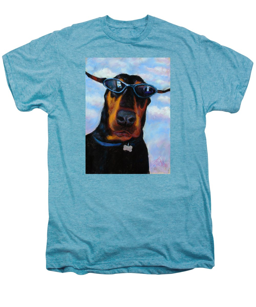 Doberman Pincher Art Men's Premium T-Shirt featuring the painting Cool Dob by Billie Colson