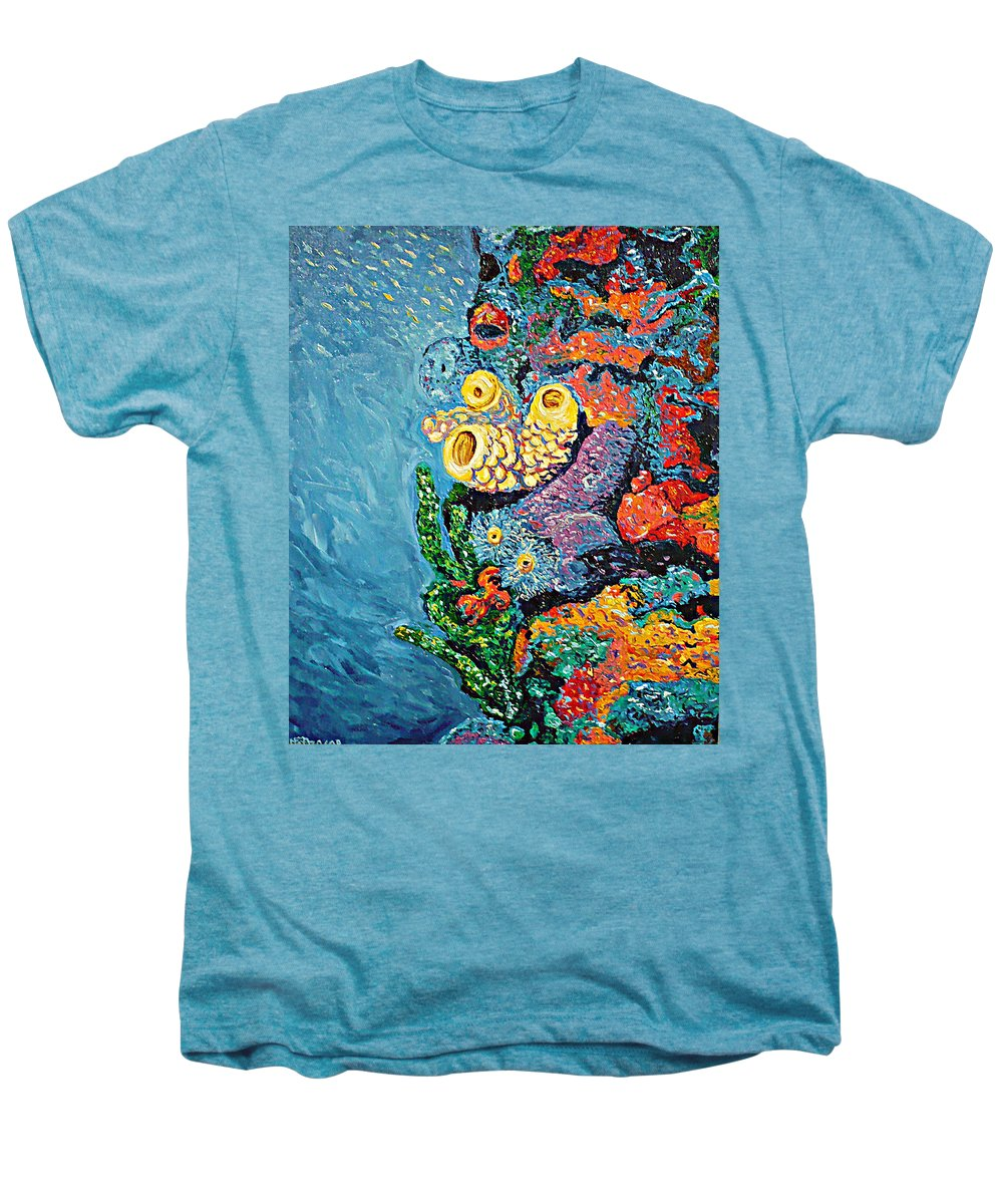 Coral Men's Premium T-Shirt featuring the painting Coral With Cucumber by Ericka Herazo