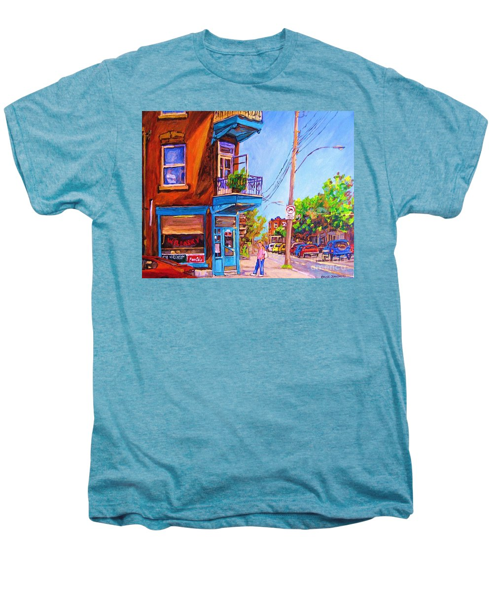 Wilenskys Corner Fairmount And Clark Men's Premium T-Shirt featuring the painting Corner Deli Lunch Counter by Carole Spandau