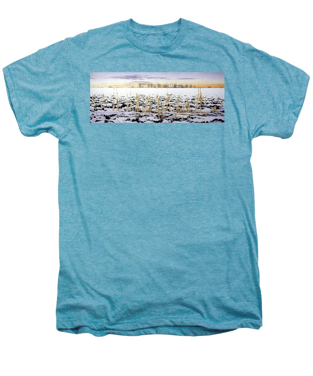 Winter Men's Premium T-Shirt featuring the painting Cornfield In Winter by Conrad Mieschke